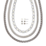 Mixit™ Silver-Tone Acrylic Pearl Earring and Necklace Set