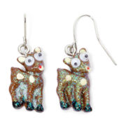 Silver-Tone Rudolph the Reindeer Googly Eyes Glitter Christmas Earrings