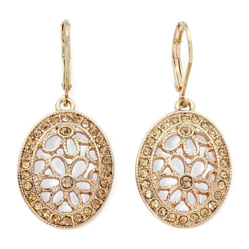 Monet® Brown Bead Gold-Tone Flower Drop Earrings