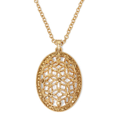 jcpenney.com | Monet® Brown Bead Gold-Tone Flower Pendant Necklace