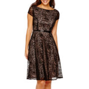 Black Label by Evan-Picone Lace Fit-and-Flare Dress