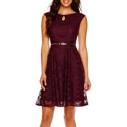 London Style Collection Cap-Sleeve Lace Fit-and-Flare Dress
