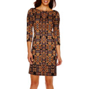 London Style Collection 3/4-Sleeve Print Shift Dress