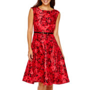 Danny & Nicole® Sleeveless Shantung Fit-and-Flare Dress