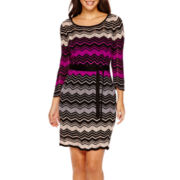 Danny & Nicole® 3/4-Sleeve Belted Sweater Dress