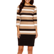 RN studio by Ronni Nicole 3/4-Sleeve Striped Sheath Dress