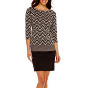RN studio by Ronni Nicole 3/4-Sleeve Chevron Print Shift Dress