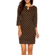 RN studio by Ronni Nicole 3/4-Sleeve Geometric Print Shift Dress