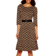 Perceptions 3/4-Sleeve Belted Chevron Print Fit-and-Flare Dress