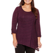 Alyx® 3/4-Sleeve Marled Knit Asymmetrical Vertical Stripe Panel Top - Plus