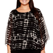 Alyx® Bell-Sleeve Print Top with Bubble Hem - Plus