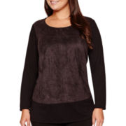 Alyx® Long Bell-Sleeve Solid Hatchi Shift Tunic Top with Faux-Suede Front - Plus