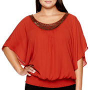 Alyx® Solid Crepe Elbow-Sleeve Smocked Top with Neckline Trim - Plus
