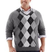Claiborne® V-Neck Argyle Sweater-Big & Tall