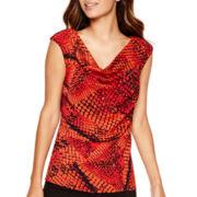 Worthington® Short-Sleeve Drape-Neck Blouse