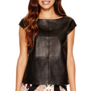 Worthington® Cap-Sleeve Faux-Leather Front Top