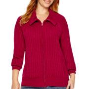 St. John's Bay® Long-Sleeve Zip Cable Cardigan - Plus
