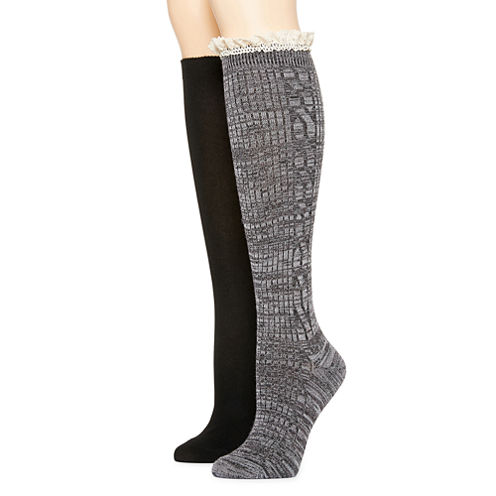 2Pk Mixit  Marled Cable Lace Kh Boot Sock