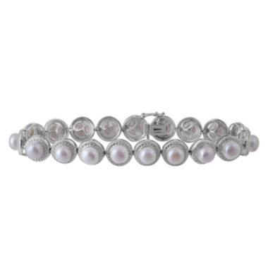 jcpenney.com | Womens Diamond Accent White Pearl Sterling Silver Beaded Bracelet