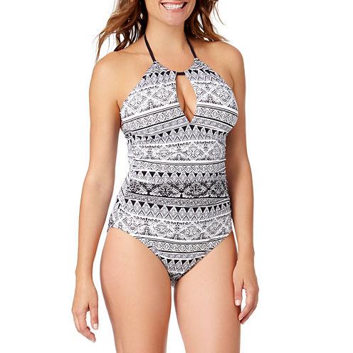 Liz Claiborne Santorini Stripe One Piece Swimsuit
