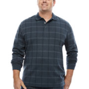 Van Heusen Jaspe Windowpane Polo Shirt-Big & Tall