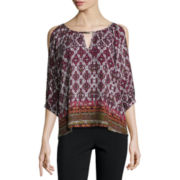 by&by Long Sleeve Round Neck Crepe Blouse-Juniors