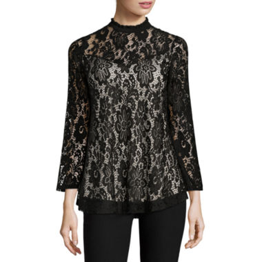 jcpenney.com | by&by 3/4 Sleeve Scoop Neck Lace Blouse-Juniors