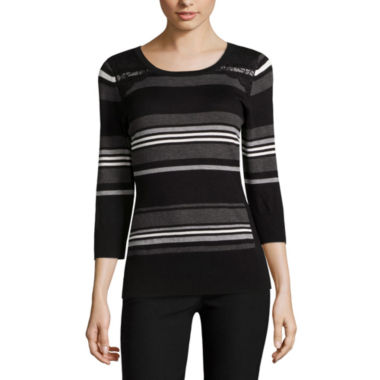 jcpenney.com | by&by Long Sleeve Scoop Neck Pullover Sweater-Juniors