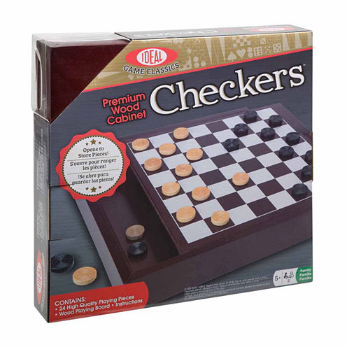 Ideal Premium Wood Cabinet Checkers Board Game