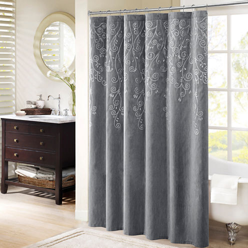 Madison Park Evelyn Embroidered Shower Curtain