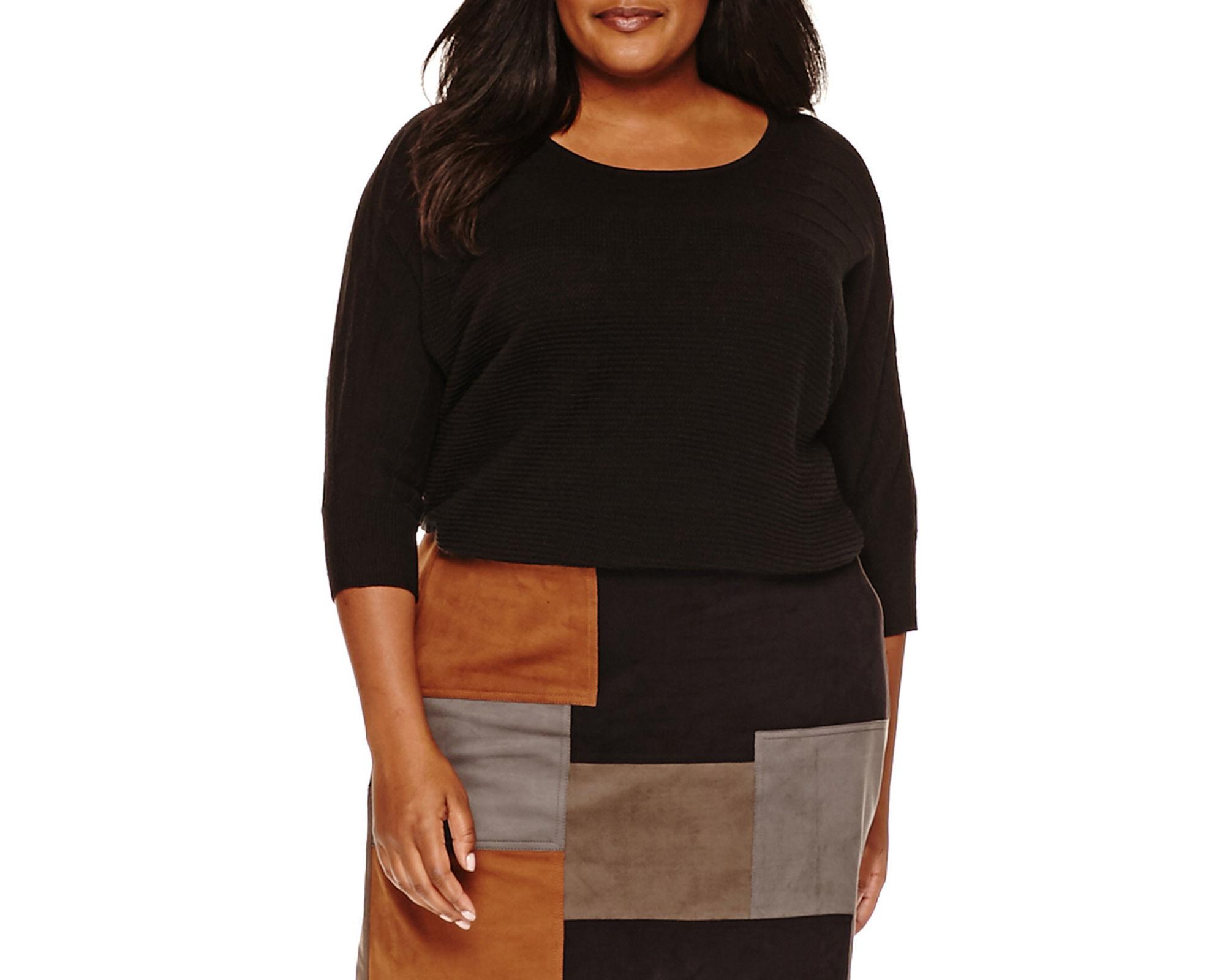 a.n.a Long-Sleeve Printed Sweater - Plus
