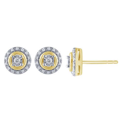 1/5 CT. T.W. White Diamond 10K Gold Stud Earrings