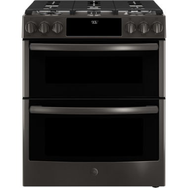 "jcpenney.com | GE Profile™ Series 30"" Slide-In Front Control Gas Double Oven Convection Range"