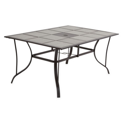 Outdoor Oasis Melbourne Rectangular Tile Top Patio Dining Table