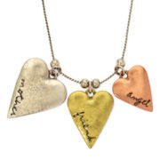 Messages from the Heart® by Sandra Magsamen® Tri-Tone 3-Heart Necklace