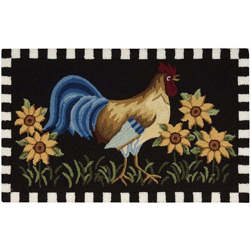 Nourison® Black Rooster Hand-Hooked Rectangle Rug