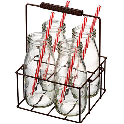 Artland Gingham 9-pc. Milk Bottle Set with Metal Caddy