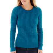 St. John's Bay® Long-Sleeve Cable Crewneck Sweater - Tall