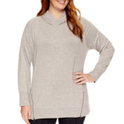 Liz Claiborne® Long-Sleeve Zip-Detail Hoodie - Plus