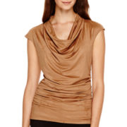 Worthington® Sleeveless Faux-Suede Ruched Cowl-Neck Shirt - Petite