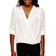 XOXO® Long-Sleeve Chiffon Drape-Front Top