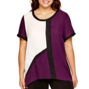 Worthington® Short-Sleeve Colorblock High-Low T-Shirt - Plus