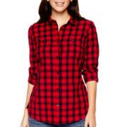 St. John's Bay® Long-Sleeve Brushed Twill Shirt