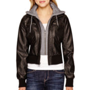 Marilyn & Me Hooded Faux-Leather Jacket