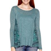 Rewind Long-Sleeve Crochet-Side Tunic