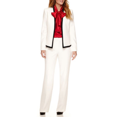 jcpenney.com | Black Label by Evan-Picone Long Sleeve Contrast Collar Jacket with Sleeveless Bow Blouse and Trouser Pant