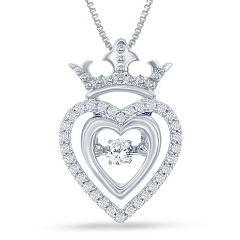 "Enchanted by Disney 1/5 C.T. T.W. Silver Heart ""Disney Princess"" Crown Pendant Necklace"