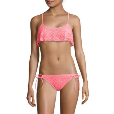 jcpenney.com | Arizona Art Deco Coral Flounce Bralette Swim Top or Side-Tie Hipster Swim Bottoms - Juniors