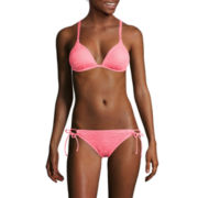 Arizona Art Deco Coral Molded Cup Push-Up Swim Top or Side-Tie Hipster Swim Bottoms - Juniors