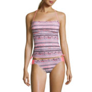 Arizona Mod Dream Coral-Print Tankini Swim Top or Coral Hipster Swim Bottoms